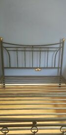 Black double bed frame with gold color corner posts very light but ver strong
