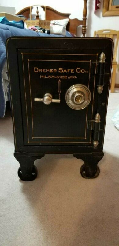 Victorian Iron Antique Combination Safe, Hand Painted, Dreher Milw, WI