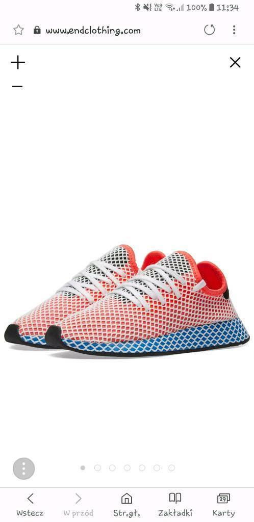 new style 22958 c8081 adidas Deerupt Runner Trainers in Solar Red  Bluebird - Size 11 UK New