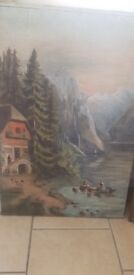 Antique oil on board of fishing on the river from Alaska or Canada