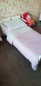 Saplings Toddler White Heart Wooden Bed