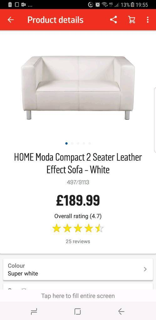 2and 3 seater White leather compact sofas