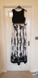 Black white grey long maxi dress prom dress size 12 new
