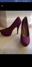 Burgandy new look high heels size 6