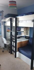 Stompa Uno 5 White Highsleeper with Desk and Pullout Chair Bed