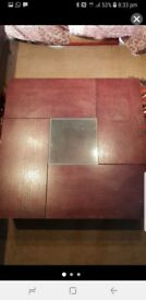 Solid wood table with glass insert