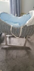 Grey and blue pod wicker moses basket