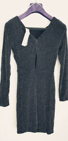 Brand New With Tags Lipsy Black Glitter Rouched Dress Size 14