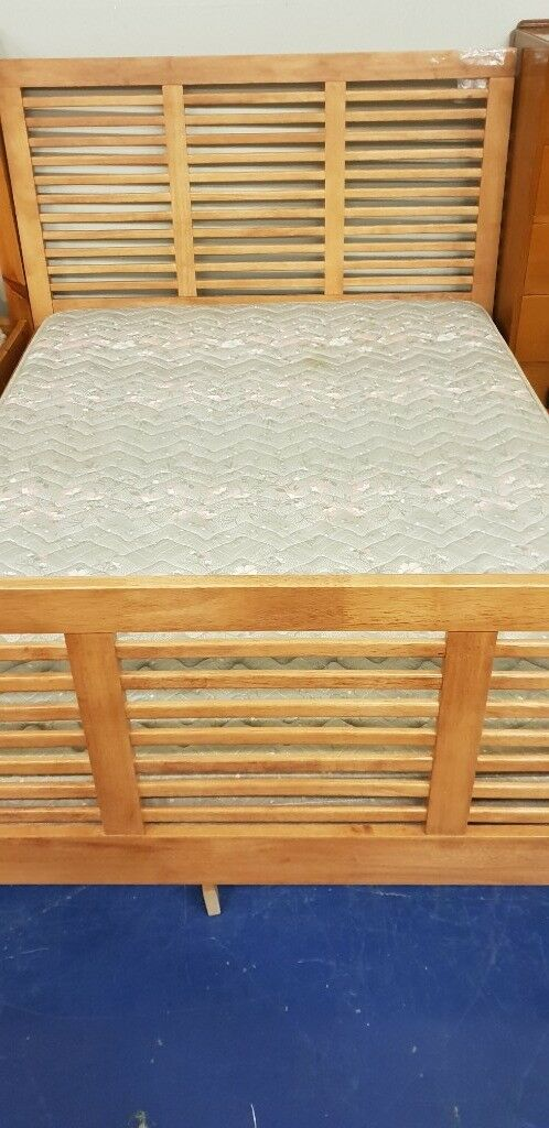 Very Modern Wooden Framed Double Bed With Mattress Very Sturdy Frame