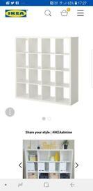 Kallax white gloss shelving unit