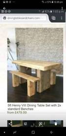 Solid Wood Table and Benches
