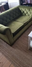 Sofa sofas Chesterfield , olive green, 2 and 3 seater