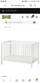 Baby cot with matterace protector, bumper, duvet and cover