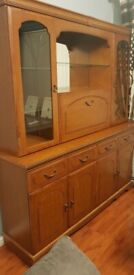 Dark brown wooden display cabinet