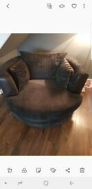 large fabric corner sofa and large swivel chair