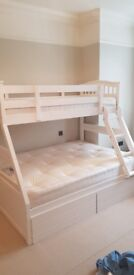 White Bunk Bed - Double bottom, single top