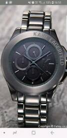 Karl Lagerfeld gun metal grey designer watch