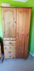 Solid Pine Wardrobe with hanging space, 5 tongue & groove drawers & shelves - good condition