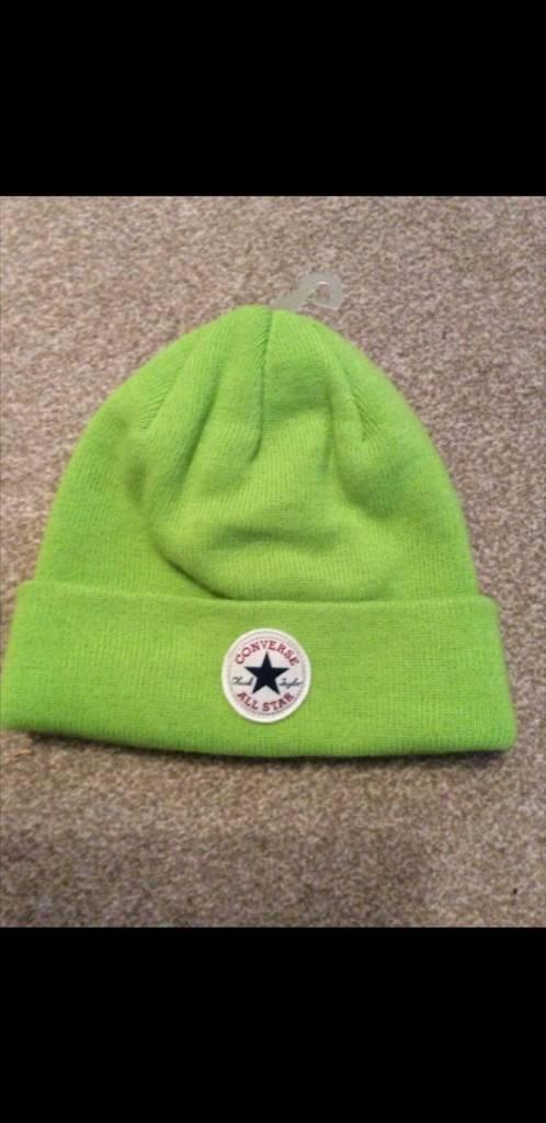 cf43b56e Official Womens/mens Converse All Star winter Lime Green knit Beanie Hat.