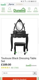 Black Toulouse vintage style dressing table