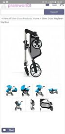 Silver cross blue pushchair