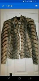 Miss Selfridge faux fur jacket size medium (10/12)