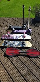 2 skateboards, Ripstick & 2 micro scooters