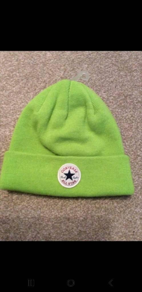 Official Womens mens Converse All Star winter Lime Green knit Beanie Hat. 82d9fa9dd6