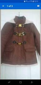 Brown faux suede hooded duffle coat size 14