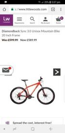 USED Diamondback sync 3.0 unisex mountain bike.