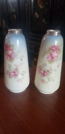 Pair of antique compton ware spill vases with silver rims, excellent condition