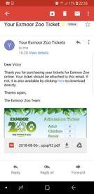 Family ticket for exmoor zoo