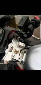 03 gen 1 suzuki hayabusa gsxr1300 gilles tooling adjustable handlebars and abm straight bar clamp
