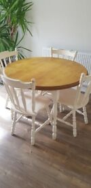 Pine round table and 4 chairs for upcycling project