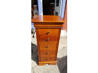 Gorgeous Cherry Wood Tallboy Chest of 5 Drawers / Solid Wood Narrow Tall Chest