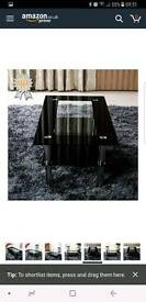 Schindora® Modern Tempered Glass Coffee Table Clear Black