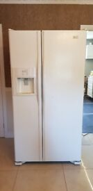 Maytag American style fridge freezer, white, water dispenser and ice maker built in.
