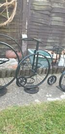 Trio of Penny Farthing bike garden planters