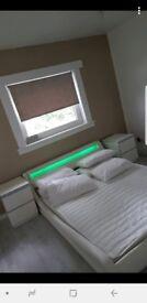 White Leather Madrid Led Kingsize Bed Frame.