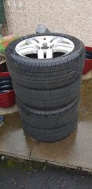 """Volkswagen 15"""" alloy wheels with tyres"""