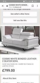 2seater cream leather sofa