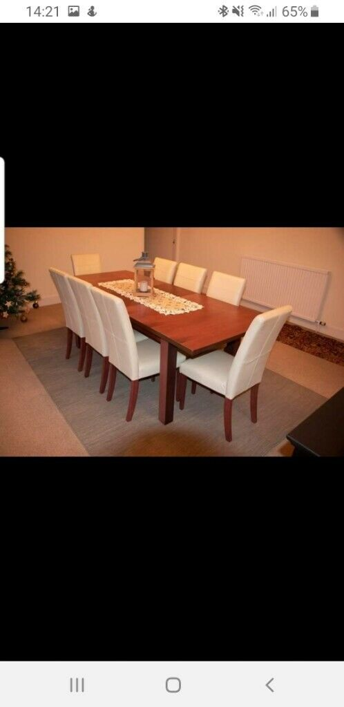 Dining Table Extendable 8 Leather Chairs Very Good Condition From Smoke And Pet F In