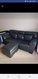 Leather Sofa, armchair and footstall