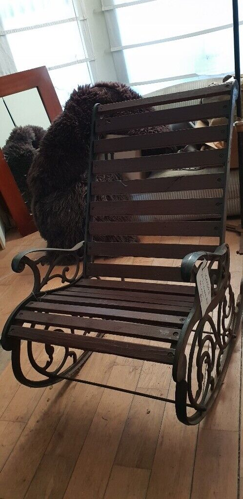 Genuine Victorian Cast Iron Wood Rocking Chair Vintage Wrought