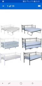 2FT6 Metal Daybed Guest Bed with Trundle And One Mattress
