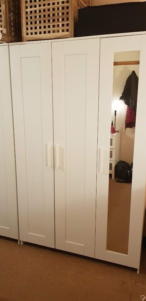 Ikea BRIMNES Wardrobe with 3 doors, white + mirror - Chiswick   in  Chiswick, London   Gumtree