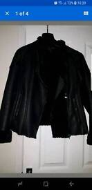 Armani jeans black leather jacket size 44 (12)