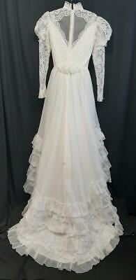 Vintage 80s White TULLE Chiffon Lace Crinoline Ruffle WEDDING Dress w/Train