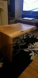 Floating waterfall coffee table solid hardwood