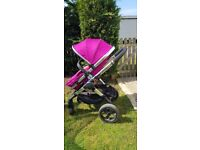 Icandy peach 3 fuchsia come with main seat carrycot footmuff raincover. Used condition